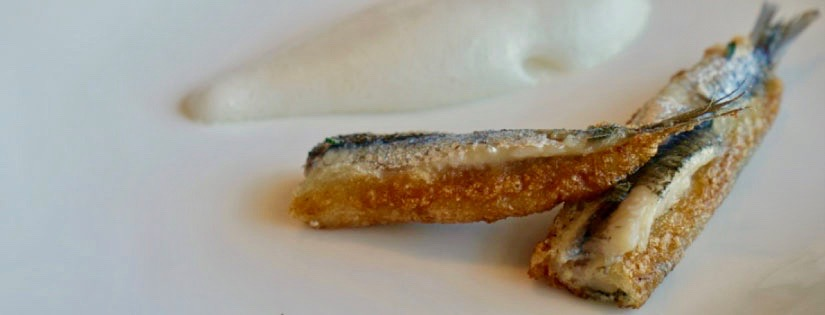 Fried anchovies oat cream and sage