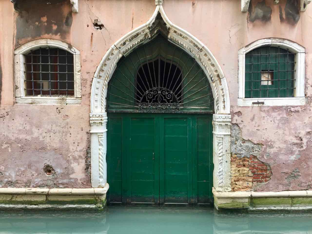 Boat Garage Green Door - Venice - Italy
